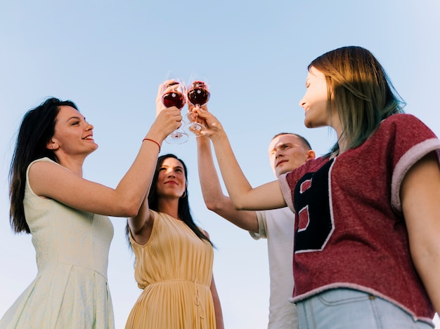 Group of people toasting in the sunlight Free Photo