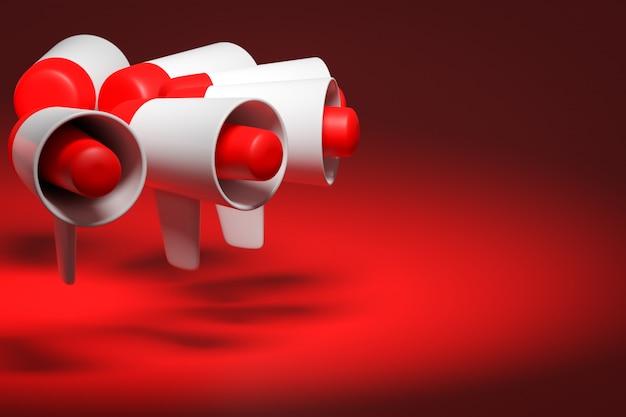 Группа красный и белый мультфильм громкоговоритель на красном монохромном фоне. иллюстрация 3d мегафона. рекламный символ, продвижение концепции. Premium Фотографии