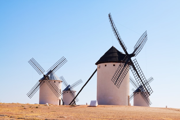 Group of retro windmills Free Photo