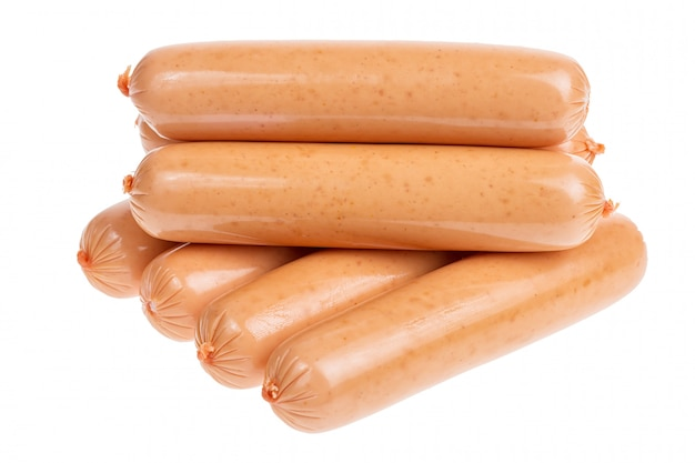 Group of sausages isolated on white background Premium Photo