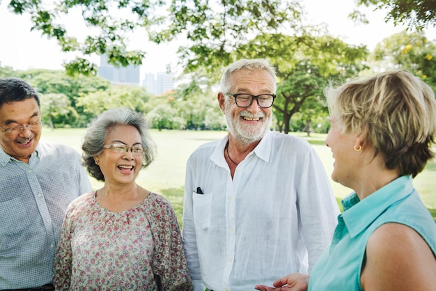 Group of senior retirement friends happiness concept Premium Photo