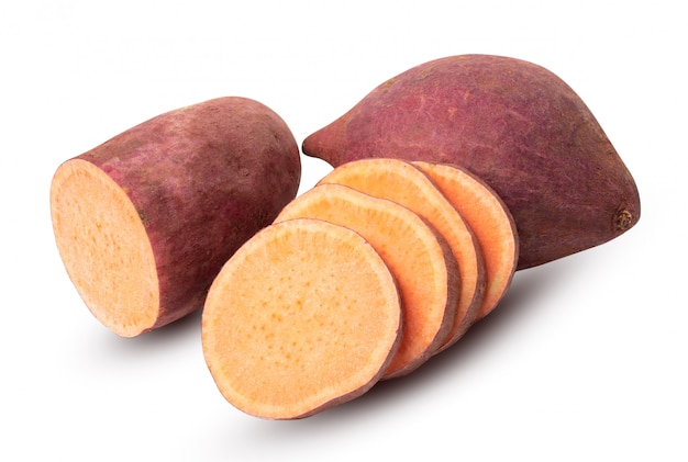 Group of sweet potato isolated on white background Premium Photo