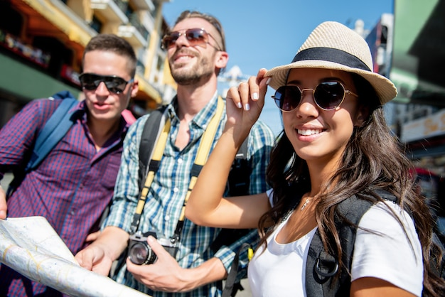 Premium Photo Group Of Tourist Backpacker Friends Traveling In Bangkok Thailand On Holidays