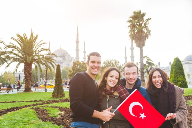 Group of turkish friends in istanbul Premium Photo