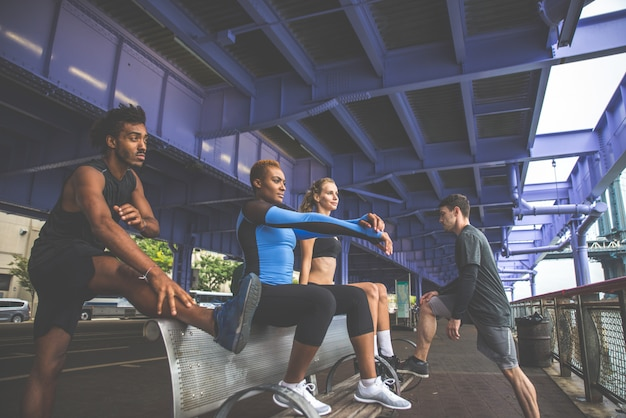 Group of urban runners running on the street in new york city, conceptual series about sport and fitness Premium Photo