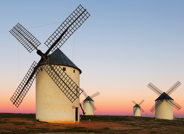 Group of  windmills at field in sunrise Premium Photo
