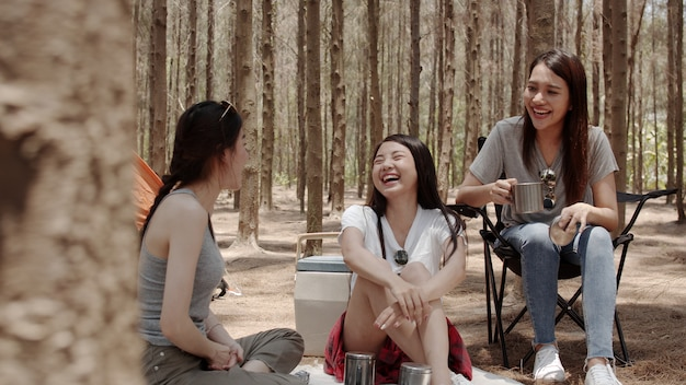 Free Photo | Group of young asian friends camping or picnic together in  forest