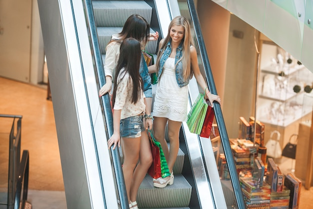 Group of young attractive women making shopping Premium Photo