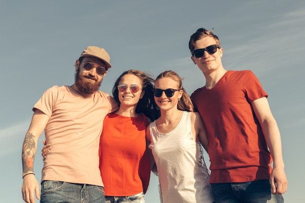 Group of young people enjoy summer party at the beach Premium Photo