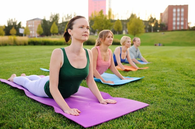 Group of young people involved in fitness in the grass Premium Photo