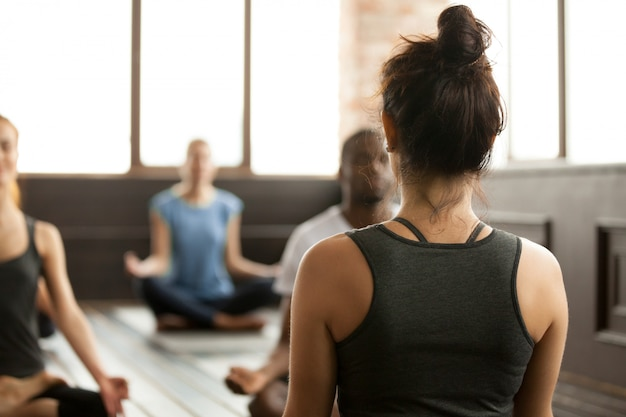 Group of young sporty people sitting in sukhasana, rear view Free Photo
