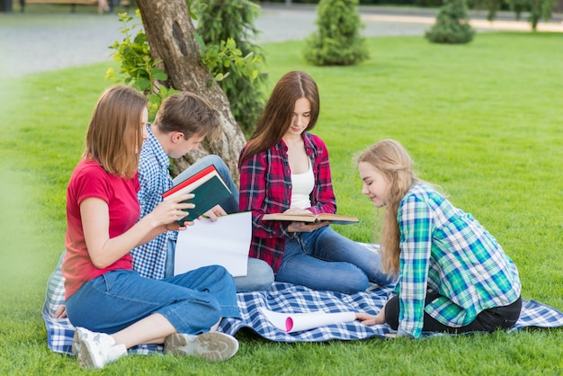Group of young students learning in park Free Photo