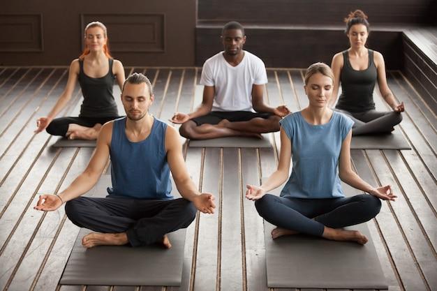 Group of young yogi people sitting in sukhasana exercise Free Photo