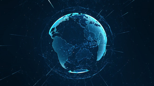 Growing global network and data connections concept. Premium Photo