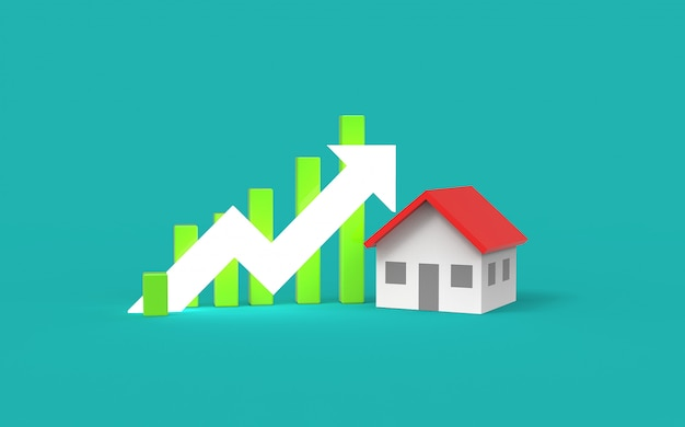 Growth real estate concept. business graph and home. 3d illustration. Premium Photo