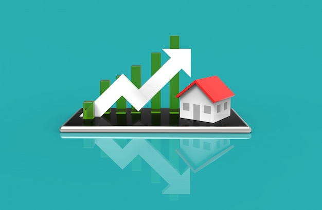 Growth real estate concept. business graph and house on mobile phone. 3d illustration. Premium Photo
