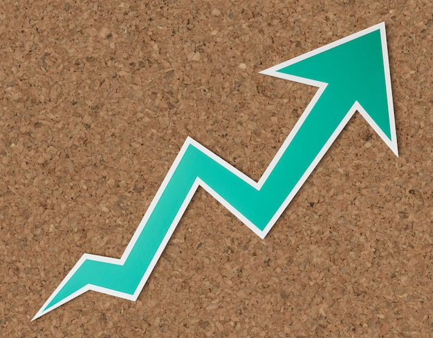 Growth up arrow icon isolated Free Photo