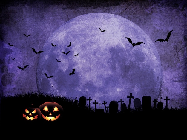 Grunge halloween background with graveyard against moonlit sky Premium Photo