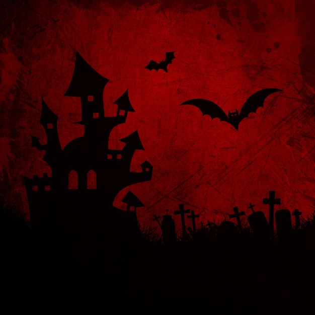 Grunge halloween background with haunted house Free Photo
