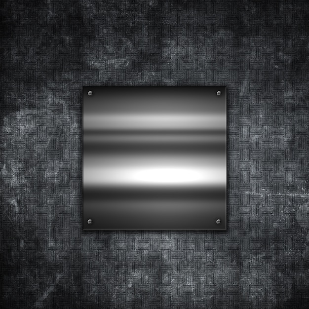 Grunge metal background with a shiny metallic plate Free Photo