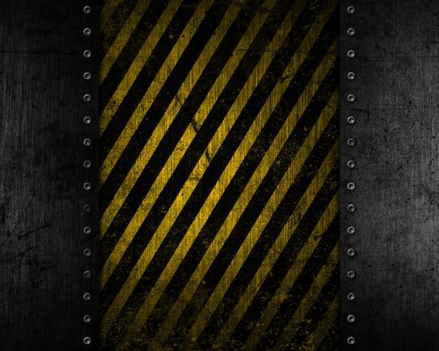 黄色と黒の苦しめられたテクスチャとグランジ金属の背景 無料写真