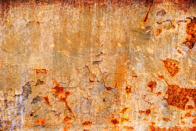 Grunge metal coroded texture. old rusty metal plate heavily aged corrosion stain. Premium Photo