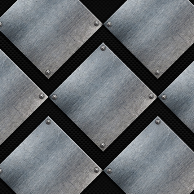 Grunge metal plates on a carbon fibre texture Free Photo