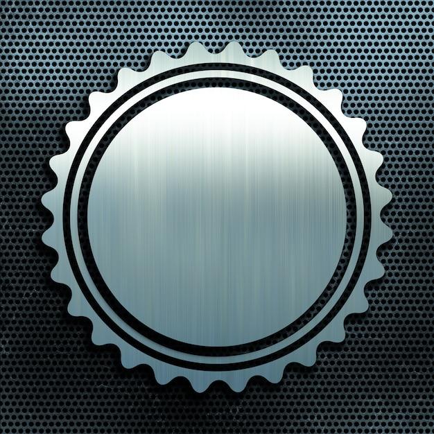 Grunge perforated metal texture background with brushed aluminium badge Free Photo