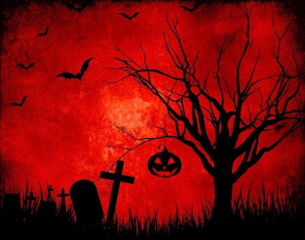 Grunge red background with halloween silhouettes Free Photo