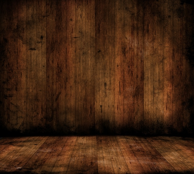 Grunge style image of a room interior with wooden floors and walls Free Photo