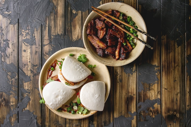 Gua bao buns with pork Premium Photo
