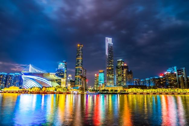 Guangzhou city night and architectural landscape skyline Premium Photo