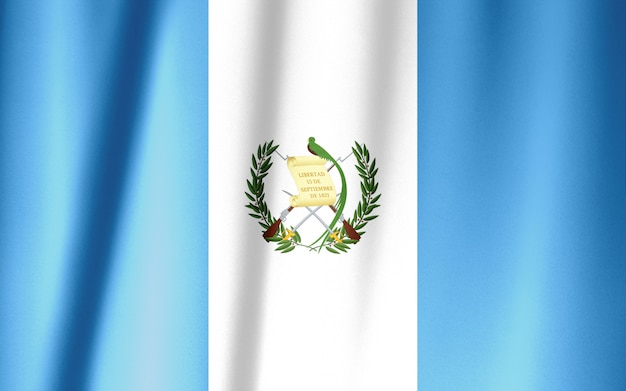 Guatemala flag pattern on the fabric texture ,vintage style Premium Photo