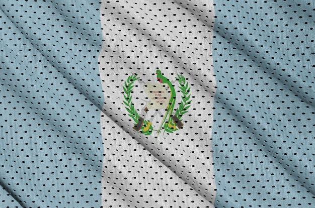 Guatemala flag printed on a polyester nylon sportswear mesh fabric Premium Photo