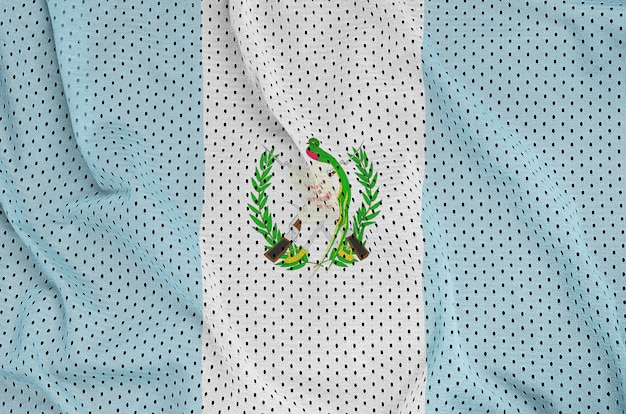 Guatemala flag printed on a polyester nylon sportswear mesh fabric Premium Photo