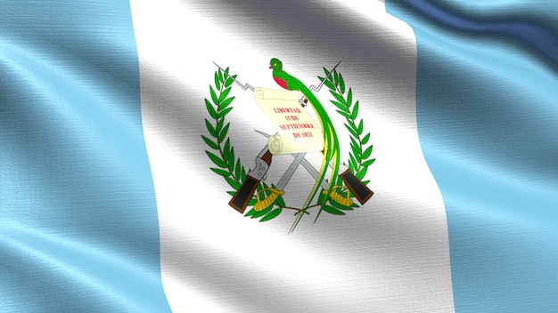 Guatemala flag, with waving fabric texture Premium Photo