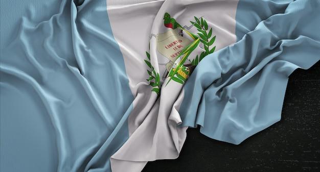 Bandiera del guatemala rugosa su sfondo scuro 3d rendering Foto Gratuite