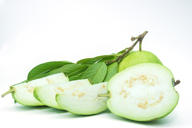 Guava fruit isolated on the white background. Premium Photo