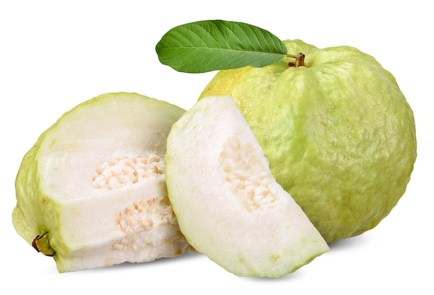 Guava fruit isolated on white clipping path Photo | Premium