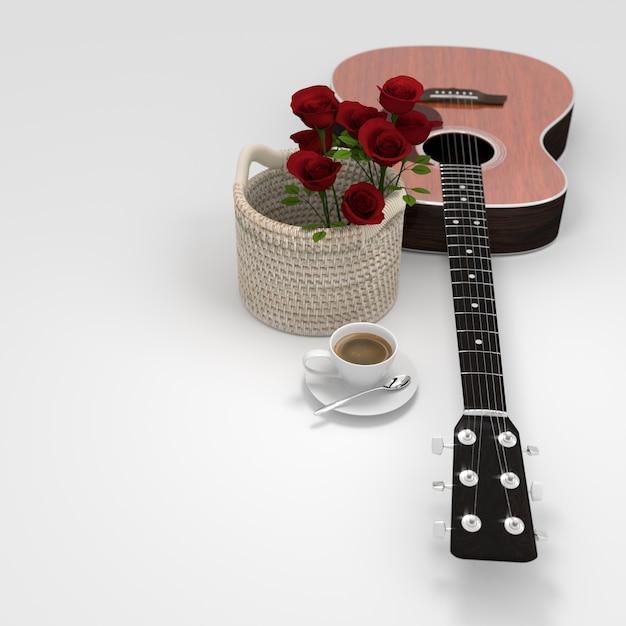 Guitar flower coffee cup 3d rendering Premium Photo