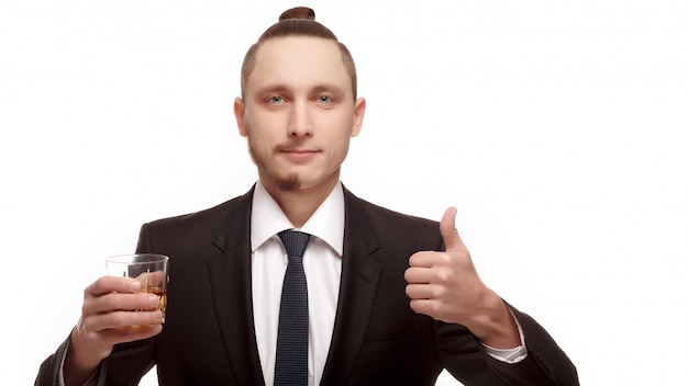 Guy with a glass and a positive gesture Free Photo