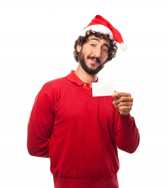 Guy with santa hat and an empty business card photo free download guy with santa hat and an empty business card free photo colourmoves