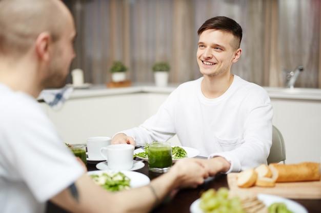 Guys at breakfast Free Photo