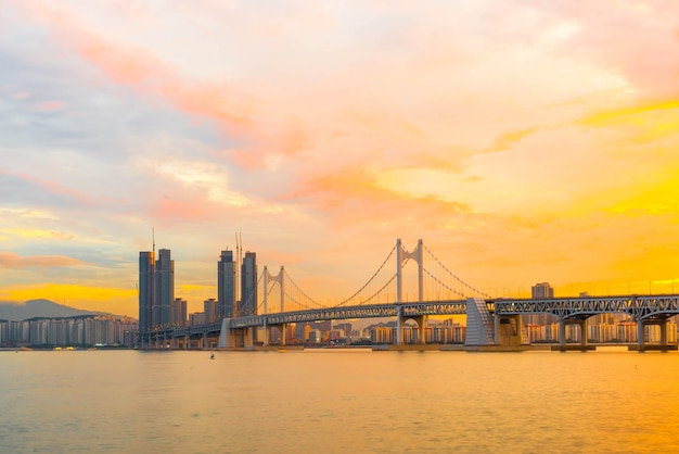Gwangan bridge in busan city , south korea. Premium Photo