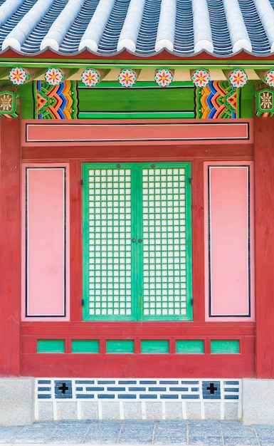 Gyeongbokgung palace beautiful traditional architecture in seoul, korea - boost up color processing Free Photo