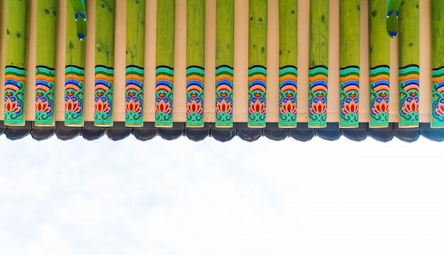 Gyeongbokgung palace красивая традиционная архитектура в сеуле, корея - увеличение цвета обработки Бесплатные Фотографии