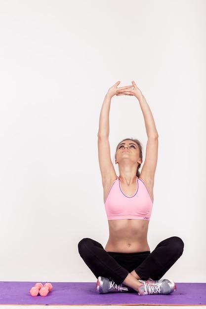 Gym stretching beauty vitality female Free Photo