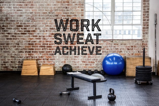 Gym with motivational phrase Free Photo