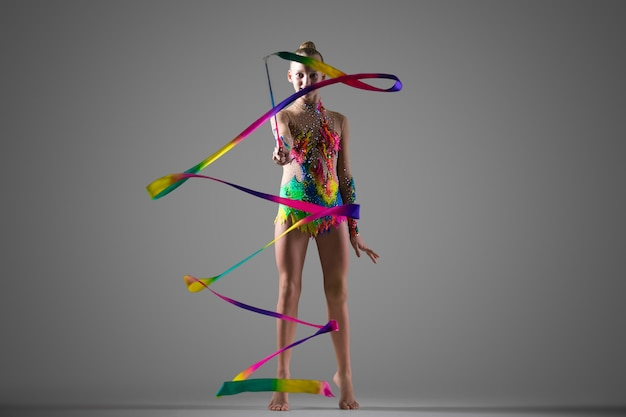 Gymnast girl with ribbon Free Photo