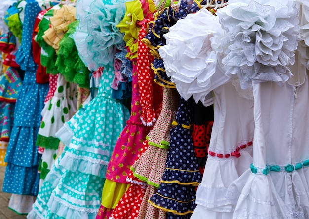 Gypsy dresses in an andalusian spain market Premium Photo